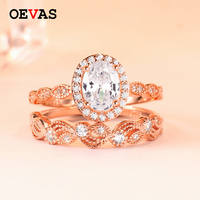 925 Sterling Silver 43 pieces AAA CZ rings set for women Oval Zircon Gold Rose gold color Wedding Ring Girls s925 silver jewelry