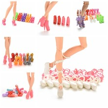 10 Pairs Mixed Fashion Colorful High Heels Sandals Accessories For Babi Doll Shoes Clothes Dress Prop Girl Baby Best Gift Toys(China)