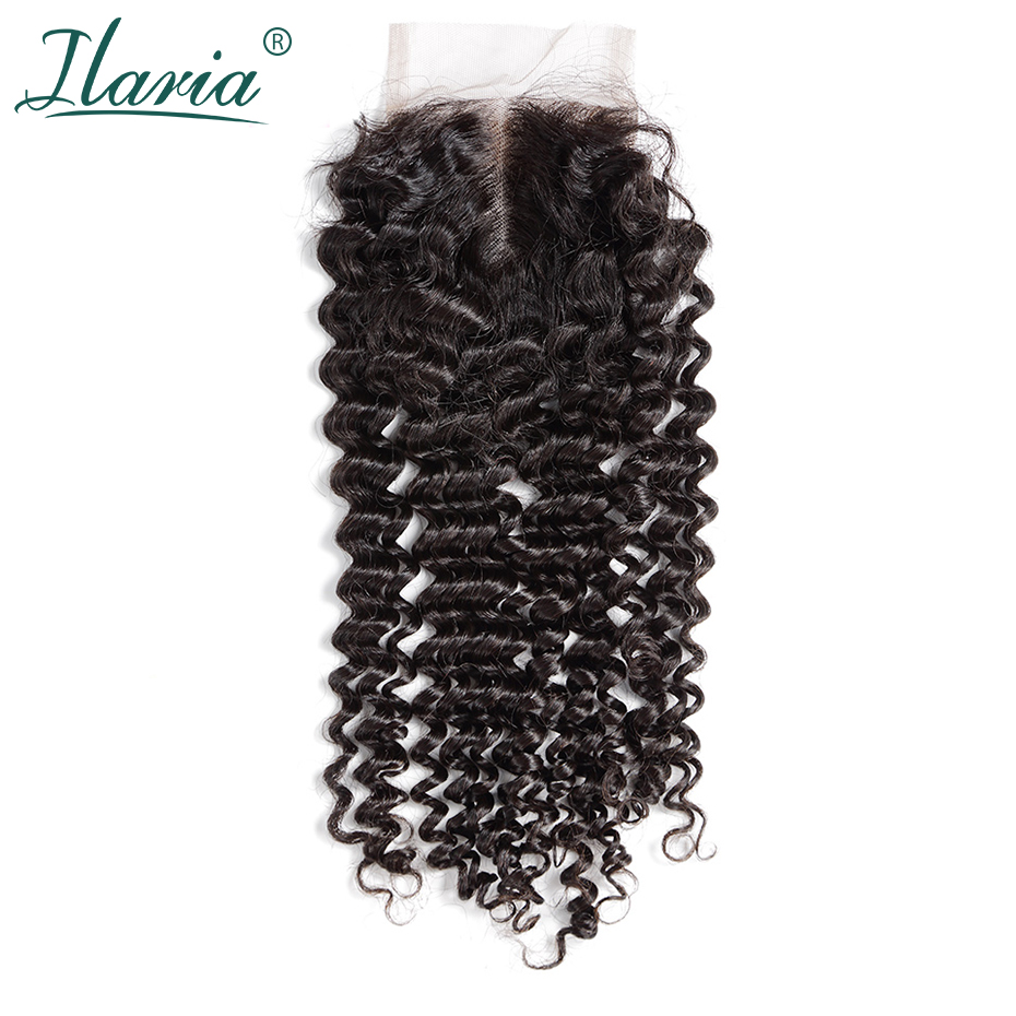 ILARIA HAIR Malaysian Lace Closure With Baby Hair Deep Wave 4x4 Curly Human Hair Closure Middle Part Free Part 3 Part Available