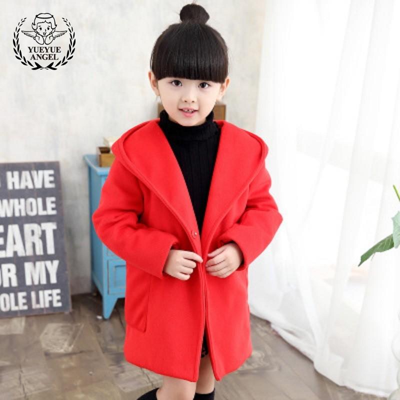 Fashion Children Autumn-Winter 2018 Red Hooded Woolen Coat For Girls Windbreaker Warm Cotton Long Wool Coat Kids 9-10 Years Old