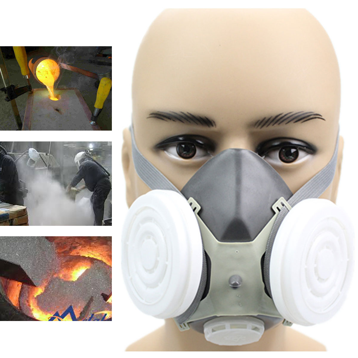 N3800 Anti-dust Facepiece Filter Paint Spraying Cartridge Respirator Gas Mask Excellent In Cushion Effect Fire Protection