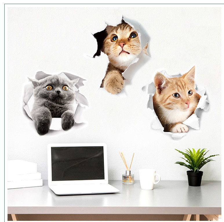 Home Cats 3d Wall Sticker Toilet Stickers Hole View Vivid Bathroom Home Decoration Animal Pvc Decals Art Sticker Wall Poster Decor