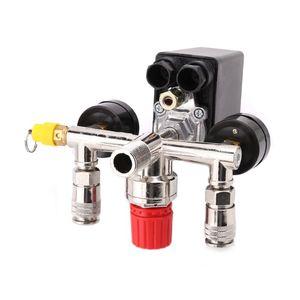 Image 4 - 220V 16A kontrola ciśnienia sprężarki powietrza zawór przełączający 0.5 1.25MPa z regulatorem kolektora i miernikami
