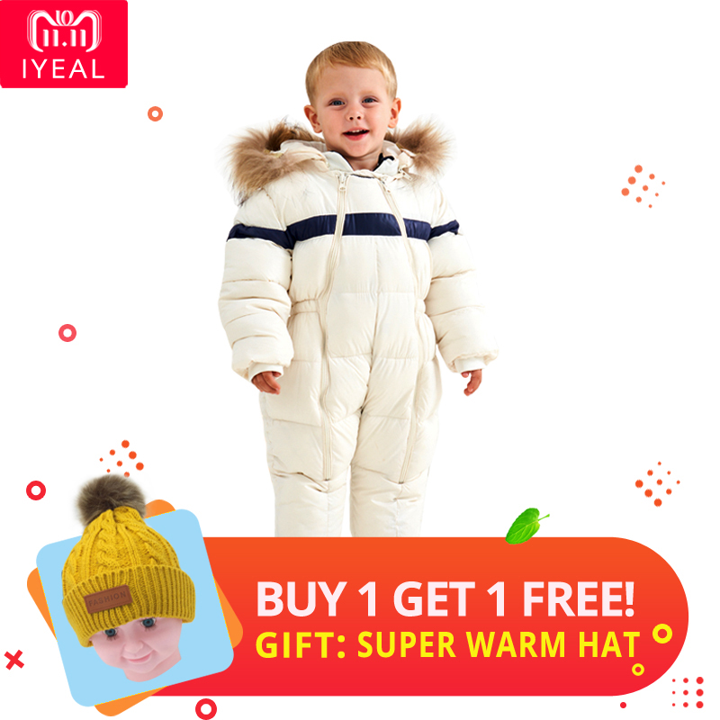 566479f4707a Luxury baby knitted racoon fur collar jumpsuits hooded baby girl ...