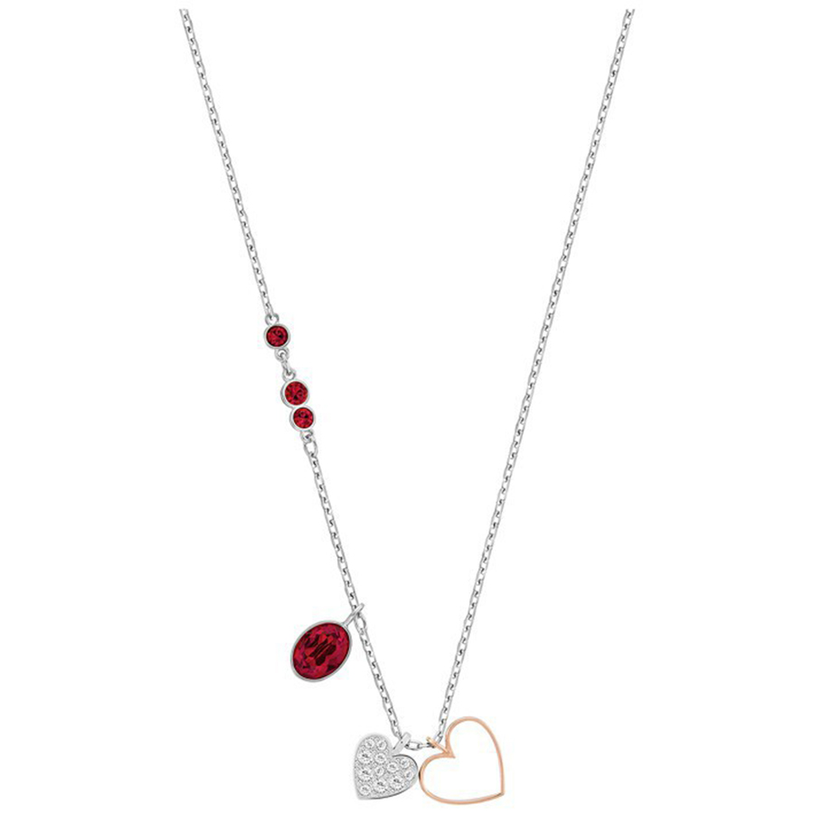 SWA RO Duo Heart Small Two Hearts Red Stones Chain Lucky Guardian Clavicle Necklace Fashion Jewelry Girlfriend Gift 5139473     SWA RO Duo Heart Small Two Hearts Red Stones Chain Lucky Guardian Clavicle Necklace Fashion Jewelry Girlfriend Gift 5139473
