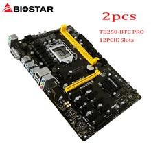 BIOSTAR 2PCS TB250-BTC PRO Motherboards 12PCIE B250 LGA 1151 DDR4 ATX BTC Mining Motherboard (alternative H81 BTC PRO TB85 H81)