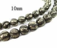 15,5 zoll/strang Natürliche Eisen Pyrit Perlen, Geschnitzte Runde Hämatit Herstellung Von Schmuck Perlen, Großhandel Perlen