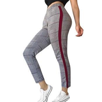 d1baed21195 Mujer Cuadros Pantalones Chándal De Alta Cintura A zAwxWnZ
