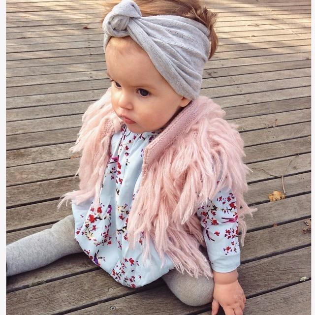 Sladké děti dívky střapce pletený svetr vesty růžová barva - Dětské oblečení