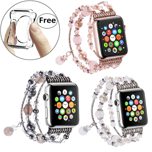 Fashion Handmade Elastic Faux Pearl Beaded Watch Band Case for iPhone Apple  Watch Series 3 2 1 Bangle Bracelets Jewelry Bands a11c35224dfa
