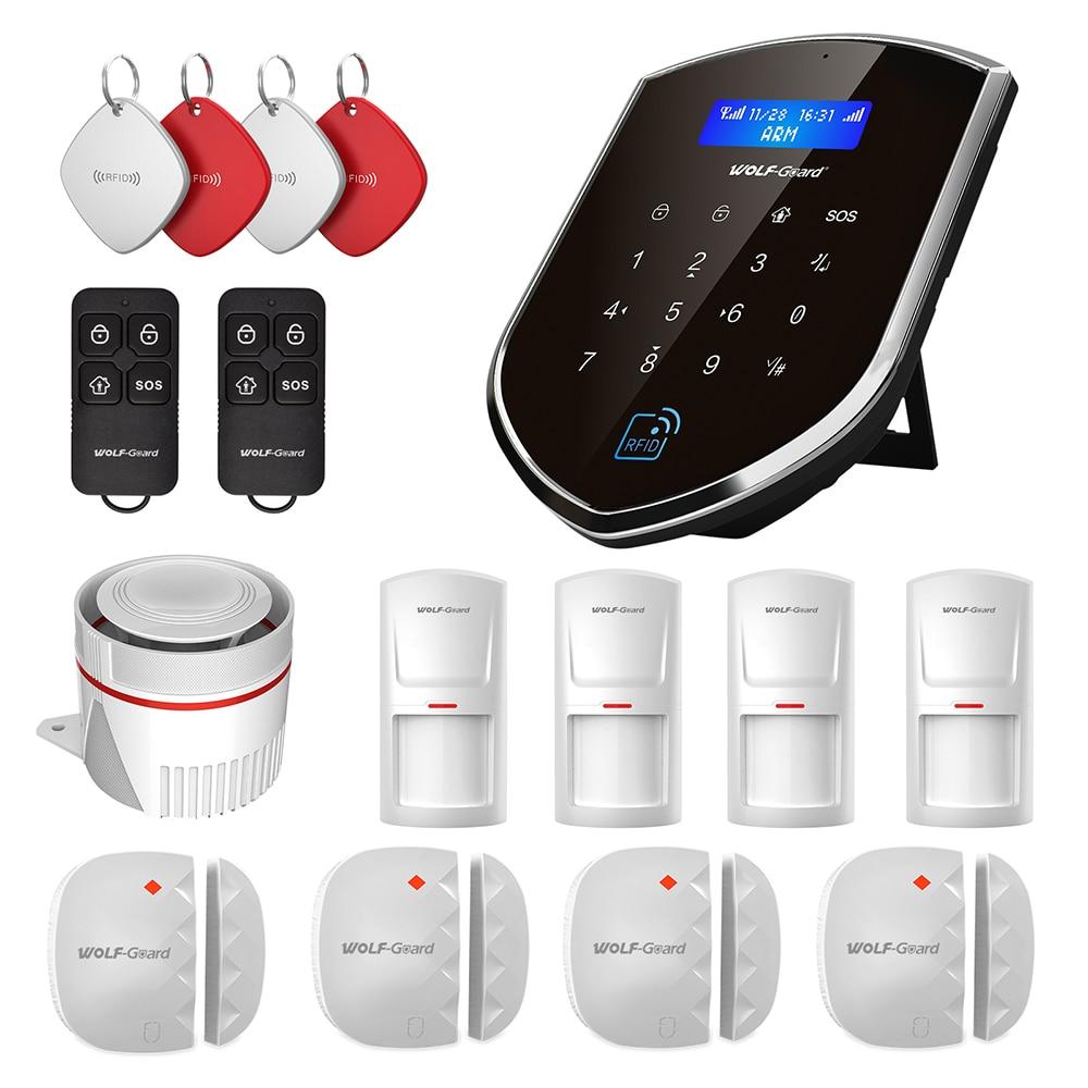 Wolf-Guard Smart 3G GSM Wifi Smart DIY Wireless Home Security Burglar Alarm System Door Sensor PIR Motion Detector Remote Set A