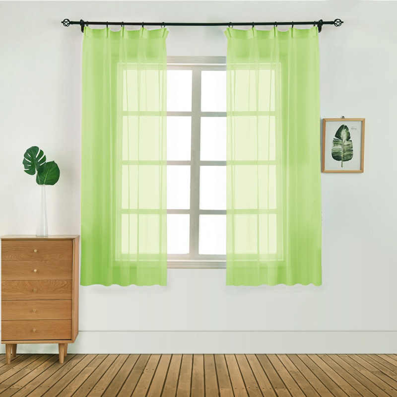 Pure Color Modern Tulle Sheer Curtains Door Window Curtain Drape Panel Scarf Valances Windows Curtains for Bedroom Living Room