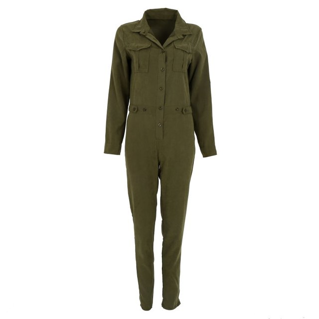 b027a42b69cf Women Jumpsuit Sexy Bodycon Party Lapel Long-sleeved Playsuit Trousers Stylish  Army Green Rompers