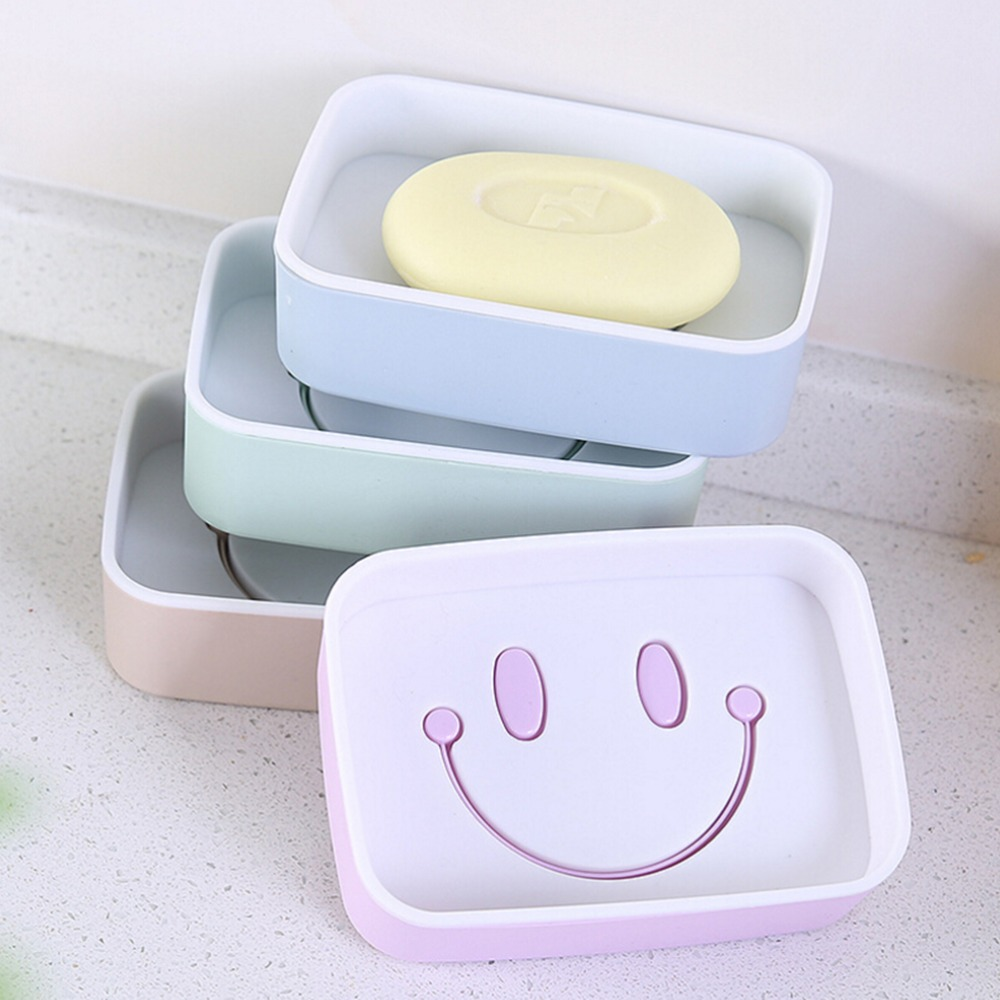 Creative Plastic Double Layer Soap Box Smile Face soap holder Non ...