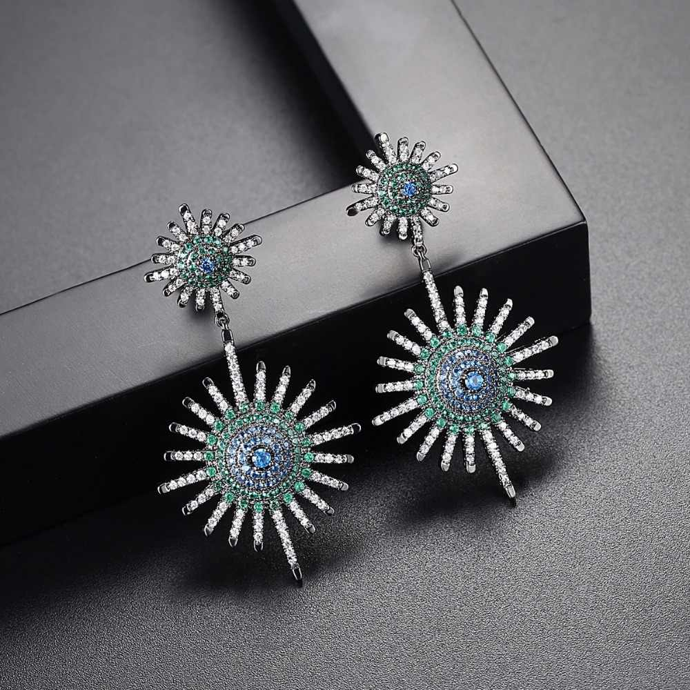 LUOTEEMI 2018 New Fashion Sunshine Two Clear Blue Green Stone Drop Earrings Gift For Girl Friend Wife Mom Wedding Anniversary