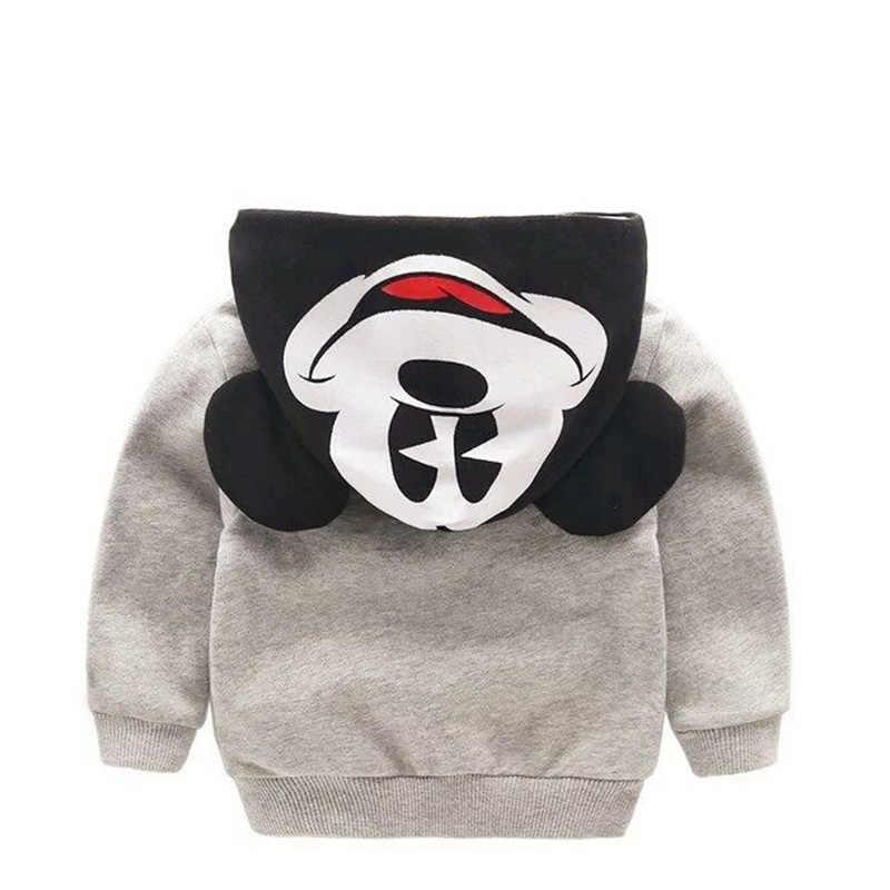 Для мальчиков ясельного возраста куртка 2019 Демисезонный модная Милая верхняя одежда для девочек «Микки Маус» для маленьких мальчиков, Мышь одежда толстовка moleton детская Толстовки с капюшоном на молнии