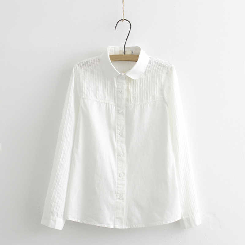 Wanita Renda Kemeja Putih Musim Panas Musim Semi Lengan Panjang Ruffled 100% Katun Slim Lembut Blus Tops 0.15Kg