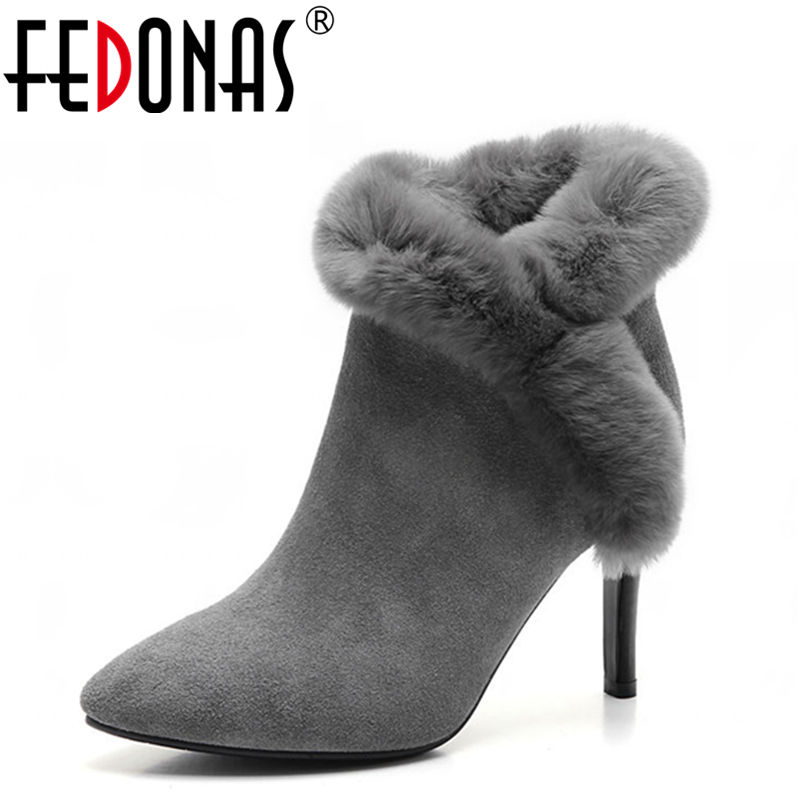 FEDONAS Top Quality Women Boots High Heels Autumn Winter Ankle Snow Boots for Women Rabbit Fur Plush Warm Boots Shoes Woman