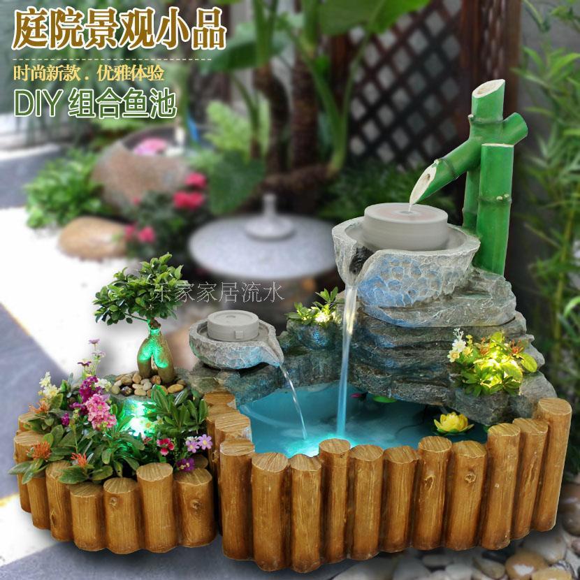 chinesischer garten terrasse im innenhof wohnzimmer brunnen