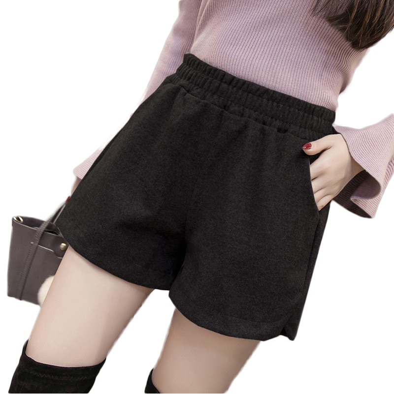 Autumn Winter Classic Basic Casual Wide Leg   Shorts   Korean Fashion Black   Shorts   for Women Femme Loose elastic Grey Warm   Shorts