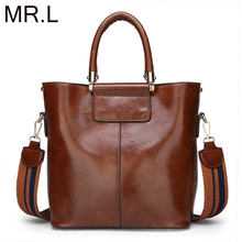 цена на MR.L Women Shoulder Bags Messenger New Tide Briefcase Oil Wax Leather Top-handle Bag  For Lady Totes Fashion Party Pack