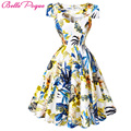 Summer Dress Women 2017 Audrey Hepburn Vestidos Pin Up Womens Print Retro Casual Party Robe Rockabilly 60s 50s Vintage Dresses