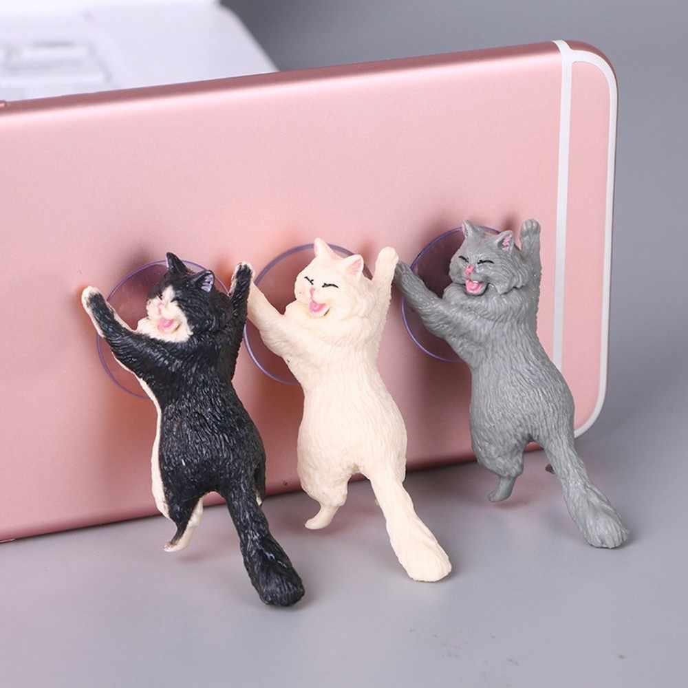 Soporte para teléfono móvil de gato de resina Universal soporte para teléfono móvil soporte para tabletas de succión de escritorio diseño de ventosa soporte para teléfono de gato