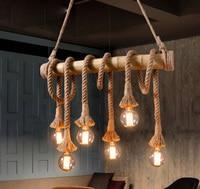American Country Style Loft Retro Bamboo & Hemp Rope Winding Chain Pendant Light with Edison Bulbs for Bar Cafe Restaurant