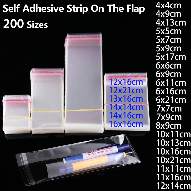 Transparent Self Sealing Plastic Bags Gift Jewelry Packaging Bag Self Adhesive Resealable Cellophane Poly OPP Bag Plastic Baggie-in Gift Bags & Wrapping Supplies from Home & Garden