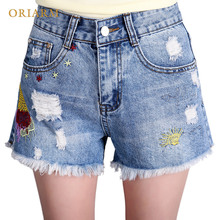 ФОТО denim shorts women summer embroidery cotton jeans shorts ripped casual female mid waist