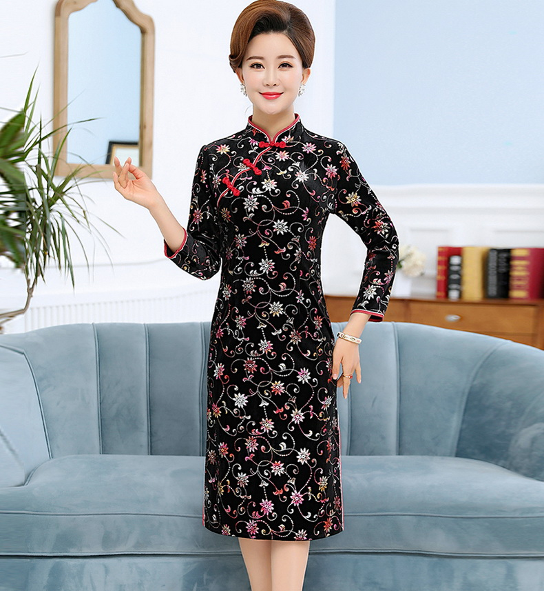 Oriental Style Women Vintage Dresses Red Black Red Stamped Qipao Dress Woman Mandarin Collar Robe Femme Side Slit Slim Fit Dress Elegant Dresses (10)