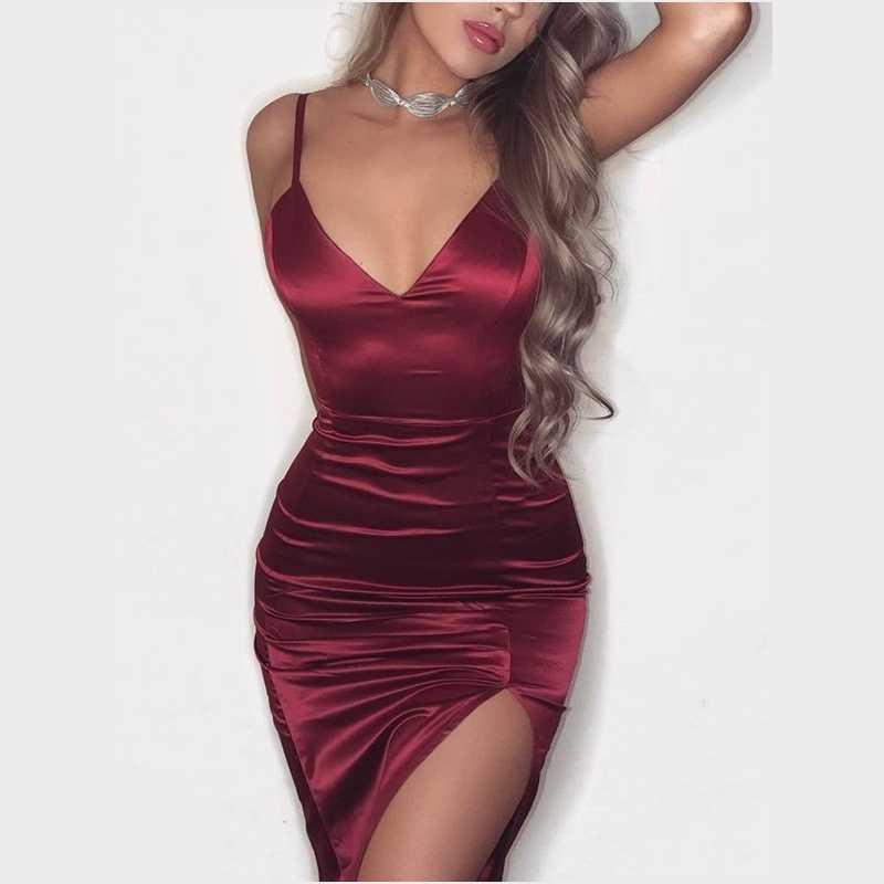 d80ea1bc4e4 Women Solid Red Black Sexy slim mini dress Female Strappy v neck satin side  slip cocktail