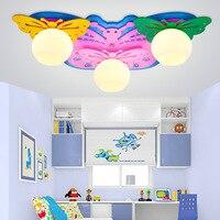 Бабочка детская потолочный светильник светодиодный детский сад декоративный свет мультфильм огни Для мужчин и Для женщин маленьких Спальн