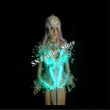 AS009 LED light dancing costumes women ballroom dress sexy/ bar singer catwalk colorful dj stage show disco party wears clothes