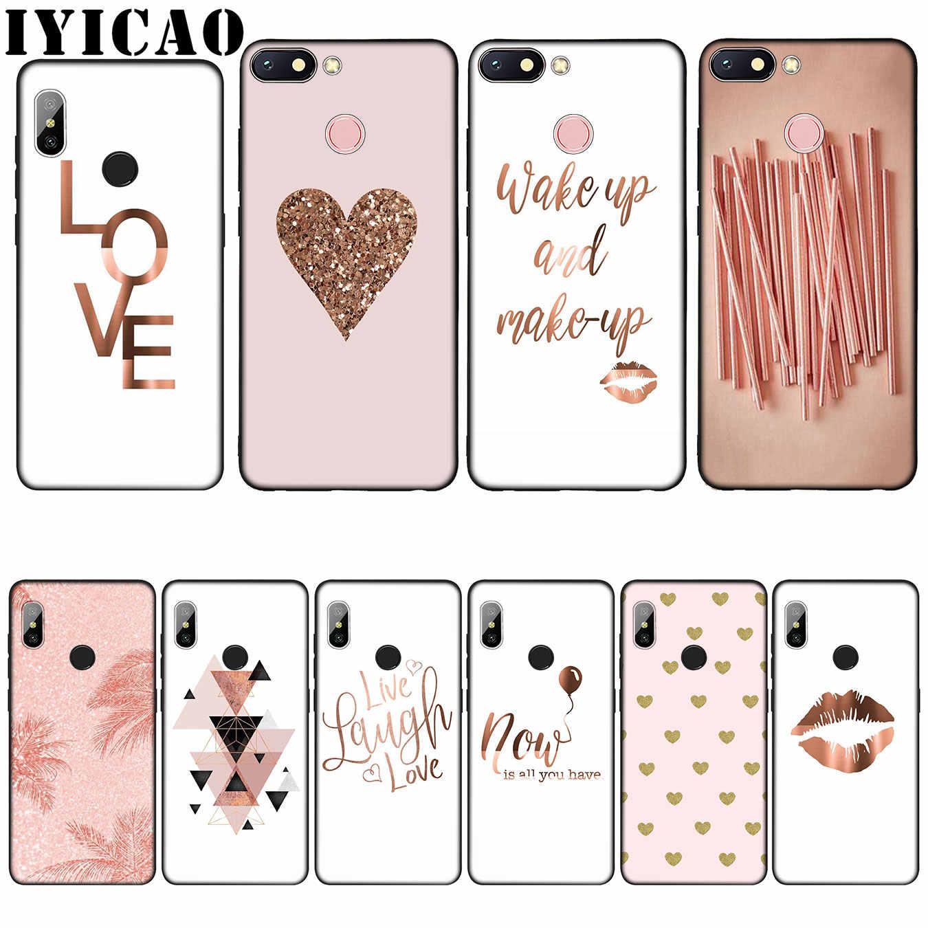 IYICAO Abacaxi Ouro Rosa Do Amor Do Coração de Silicone Soft Case para Xiaomi Redmi Nota 8 6A 5A 7 4 4X5 Plus 6 Pro Black TPU Capa