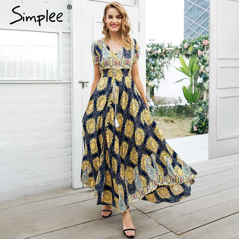 f023a9652f Simplee Boho chic high waist long dress women Button shirred floral casual  dress female 2018 Beach