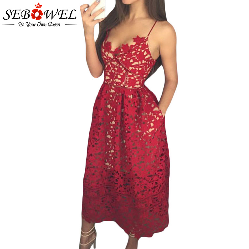 SEBOWEL Elegant Red Lace Spaghetti Strap Party Skater Dress Women Sexy Hollow Out Nude Illusion Backless A-Line Midi Dresses