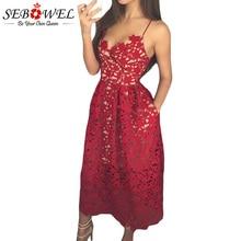 c0b0696f57ec SEBOWEL Elegante Pizzo Rosso Della Cinghia di Spaghetti Del Partito Pieghe  del Vestito Delle Donne Sexy Scava Fuori Nude Illusio.