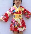 2016 горячие Дети Юката Павлин Японская девушка Кимоно Дети Юката Хаори Платье Традиционные Японские Кимоно Бесплатная Доставка