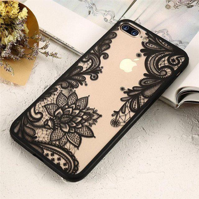 KISSCASE Phone Case For iPhone 6 6s Plus 7 7 Plus 5 5s SE Case Luxury Lace Flower TPU Cover for iPhone 6 Plus 6s Plus 5 5S SE 7