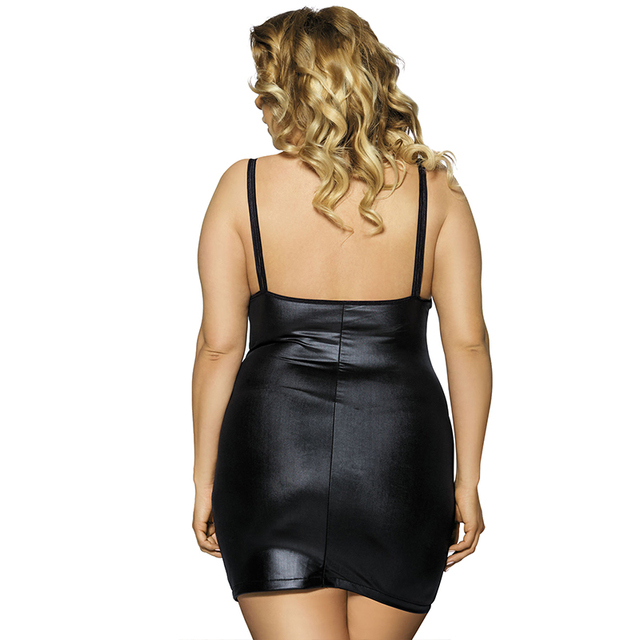 Sexy lingerie hot sleeveless fashion style black faux leather dress