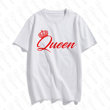 2019 O Neck Couple Costume King And Queen Cotton T-Shirt Figure Printed Sleeve Fashion Casual Tops & Tees Brand Unisex Clothing(China)