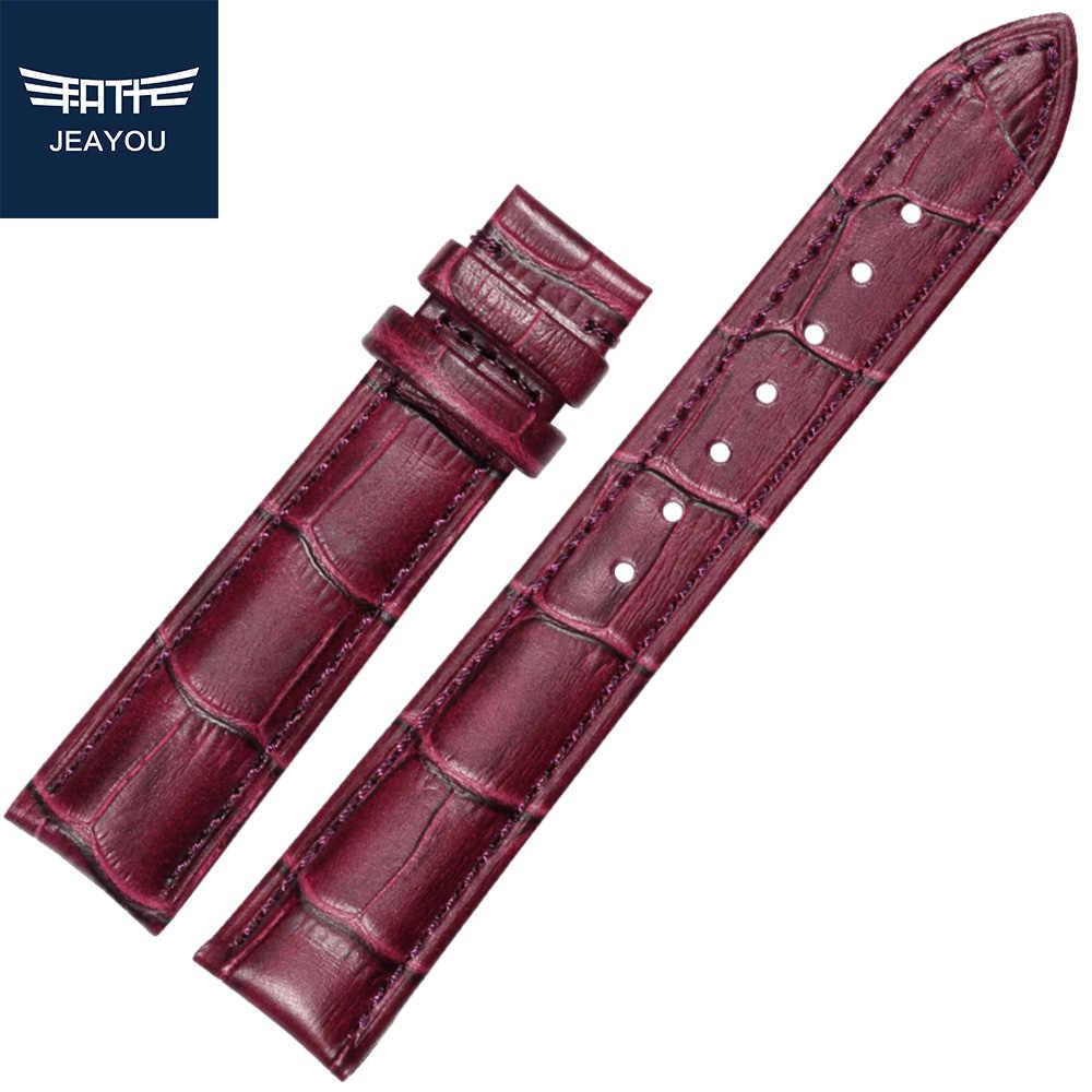 Pulsera de reloj de cuero para mujer para Tissot/Mido/Casio Blanco/Rojo/rosa/azul/púrpura/14/16/18/20mm sin hebilla