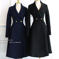 Fashion Vintage Wool blends Coat Women skirt slim Waist Winter v neck Women long Woolen Coat