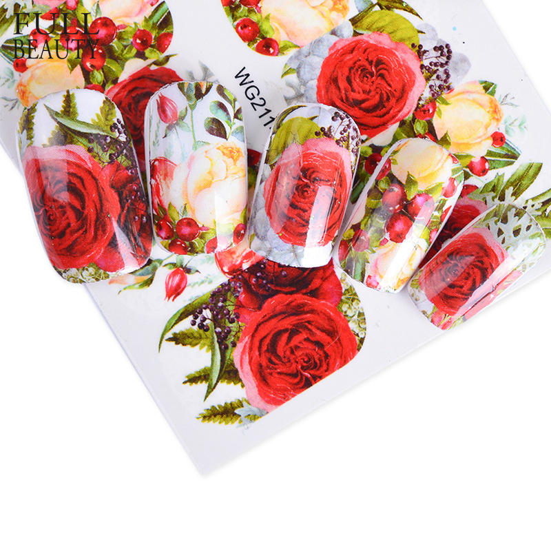 Full Beauty 1pcs Nail Sticker Optional Blossom Colorful Flower Rose Valentine Water Full Wraps Nail Art Decals Charms Tips CHWG zko 1 sheet chic pink flower designs nail sticker water decals nail art water transfer stickers for nails 8087