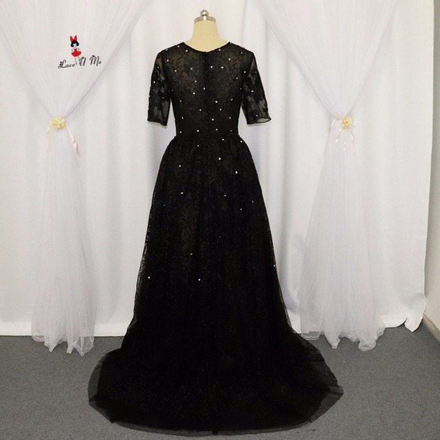 Black Formal Evening Gowns Lace Half Sleeve Silver Beads Detachable