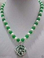 Perline Bianche 7-8 perla naturale 8mm gemma verde collana ciondolo drago WG Placcato Da Sposa vasta orologio ali regina
