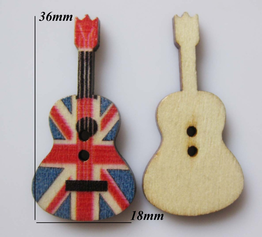 How to scrapbook uk - Wbnksv Guitar Shape Crafts And Scrapbooking Natural Wood Buttons 100pcs Lot Uk Flag Sewing Supplies