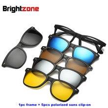 Brightzone 5+1 Set Glasses Women Men Mirror Polarized Magnetic Sunglasses Clip on Make Prescription Myopia Hyperopia Astigmatism