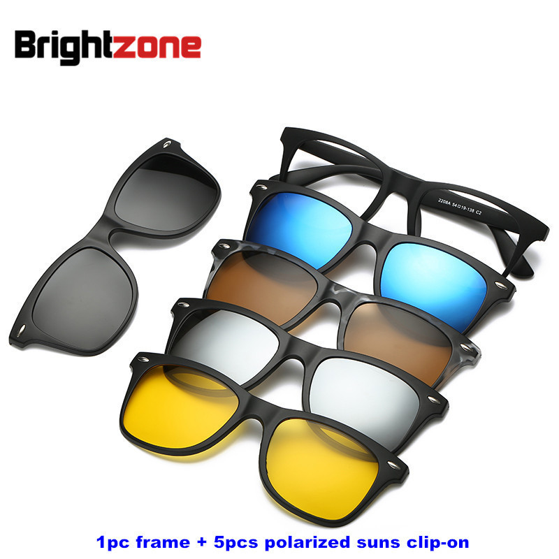 Brightzone Vintage 5 +1 Set Glasses Women Men Mirror Polarized Solbriller Clip-on Lagre Prescription Myopi Hyperopia Astigmatism